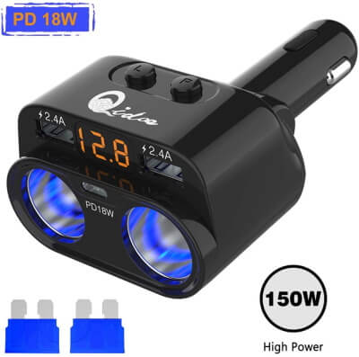 Qidoe Cigarette Adapter with LED Voltmeter