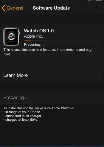 Start update and install apple watch OS in iPhone