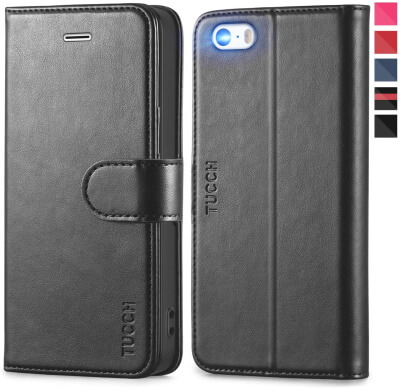 TUCCH Leather Wallet Case for iPhone 5 5S SE