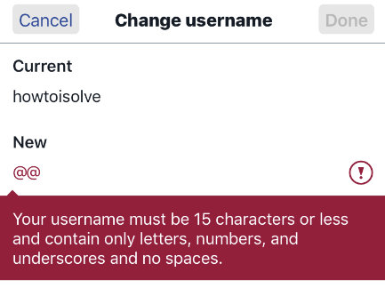 Twitter username must be 15 chatacters or less