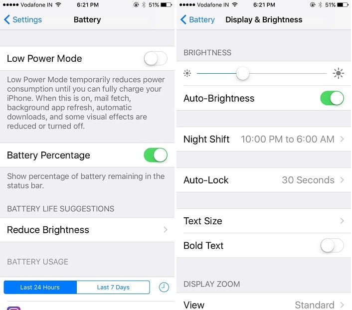 1 Low power mode in iOS 10
