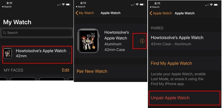 2 Unpair Apple Watch