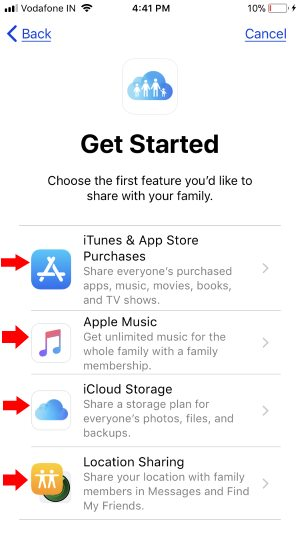 4 Turn on Family sharing for Music, Drive, App Store