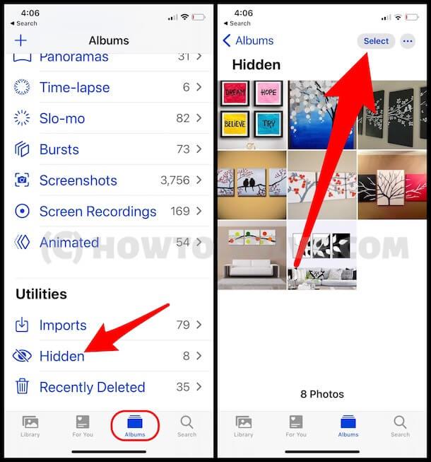 Access hidden photo album on iPhone photos app