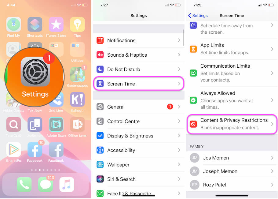 Cntent Restriction in Screen Time on iPhone and iPad