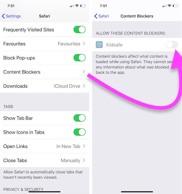 Enable Content Blocker Using App