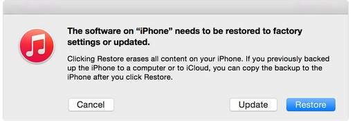 iPhone can't restore or update with iOS 7/iOS 8
