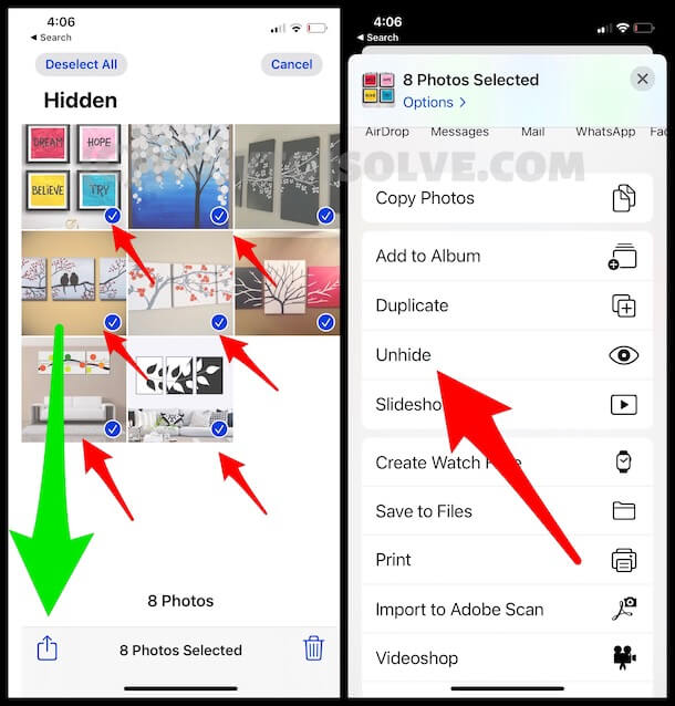 Select Photos from Hidden album and Unhide the hidden Photos from iPhone