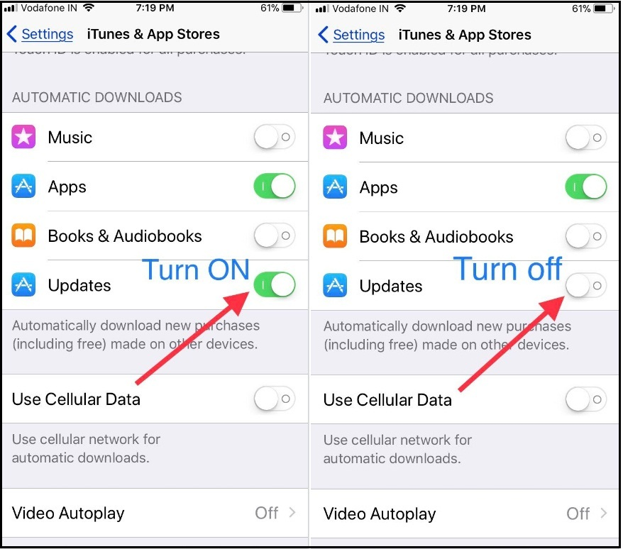 turn off Automatic update Apps on iPhone Ipad Ipod touch