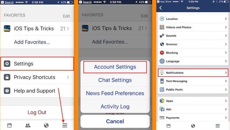 1 Account Settings on Facebook iPhone and Notifications
