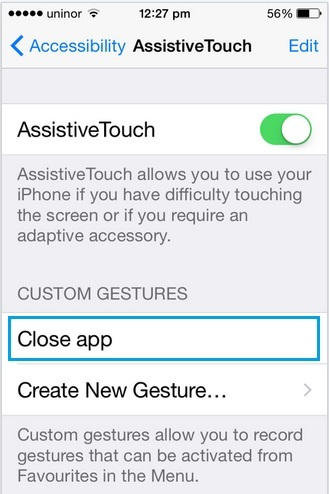 Delete custom gesture in iPhone, iPad and iPod touch