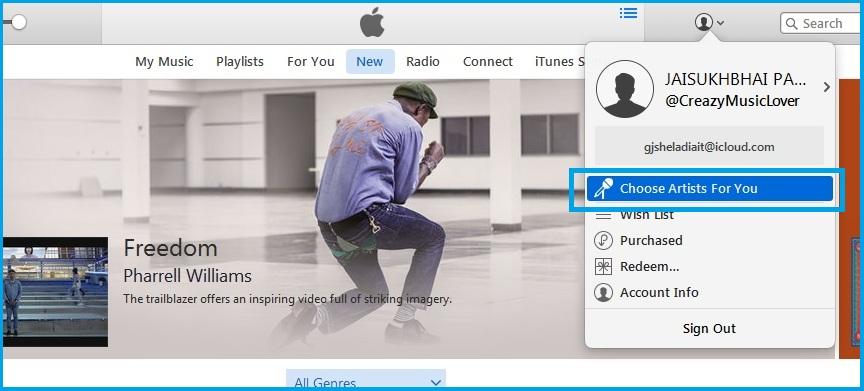 Reset apple music artist in iTunes running on OS X Yosemite, Mavericks