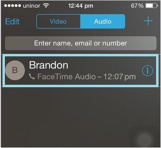 FaceTime call through Audio/ Video