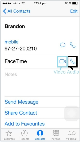 Start FaceTime call from Contact app