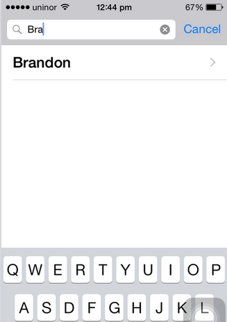 Find contact name after search from contact