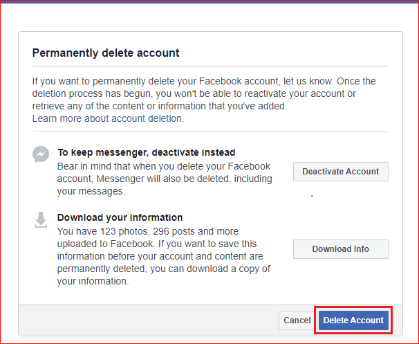 Click on Delete account button to delete Facebook account on pc or mac or computer