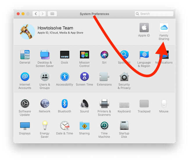Family Sharing Option on Mac System Preferences