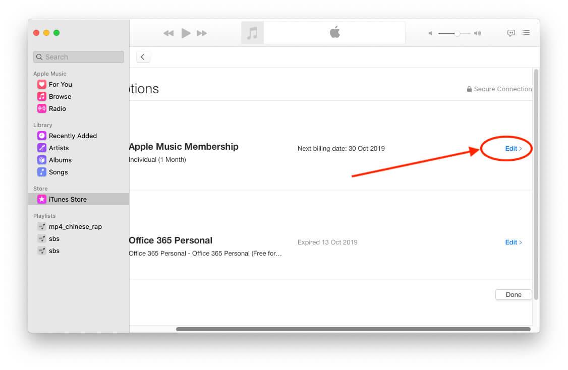 Manage Apple Music Membership on Mac Music app