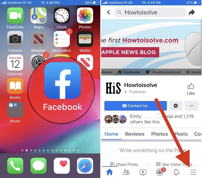 Open facebook app and tap on more option
