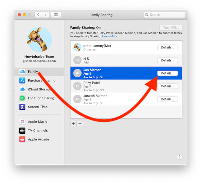 See all Family Members on Mac under Family Sharing