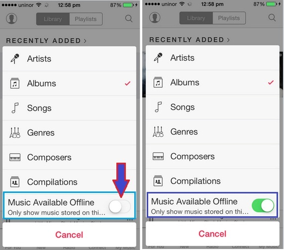How to find offline Music on iOS – On newly Music app