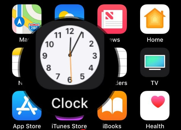 Tap on Clock app icon to launch clock app to set a sleep timer for Apple Music and beats 1 on iPhone iPad iPod Touch