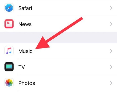 Tap on Music to Open Settings on iPhone iPad
