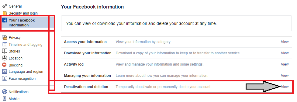 click on your Facebook information setting then click on view to delete Facebook account on PC or computer or Mac