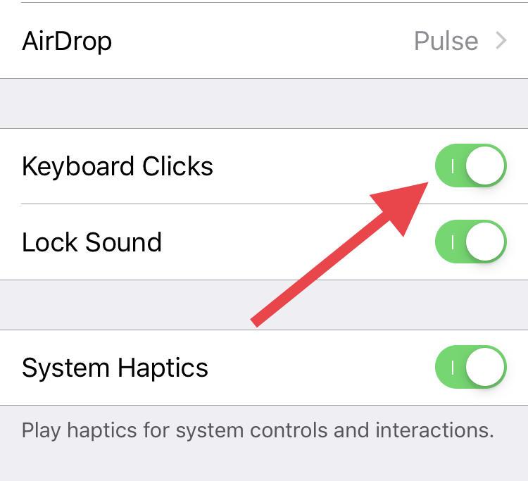 turn on keyboard Clicks sound on iOS device