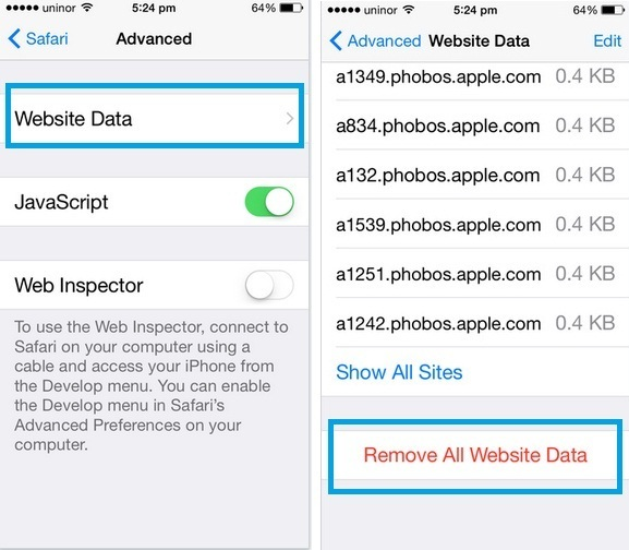how to remove Website data from Safari in iOS 8, iOS 9