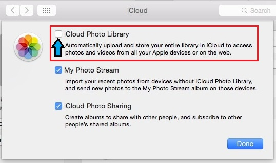 how to do turn off iCloud Photo library on mac os x 10.10.3