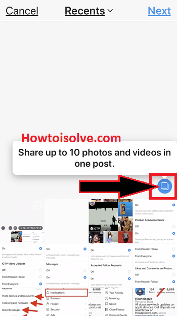 share multiple photos and video in instagram in one post from iPhone