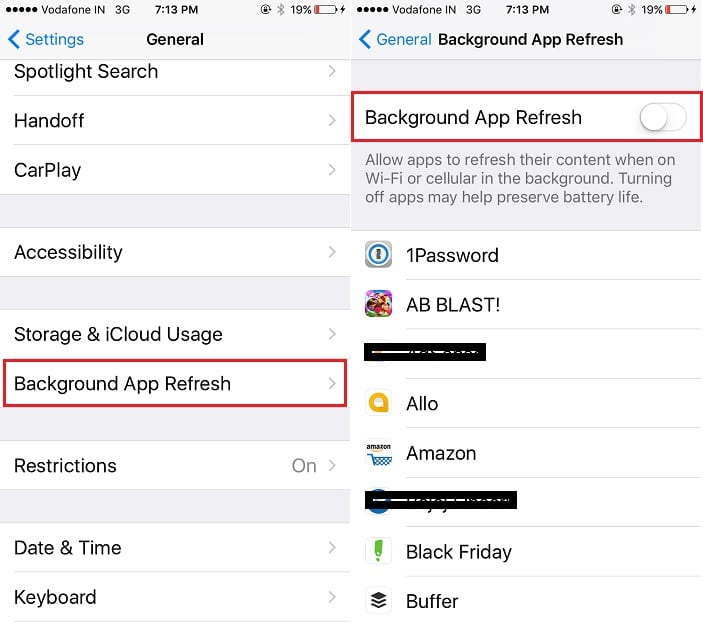 Disable Backgroud app refresh on iPhone for Save Cellular data