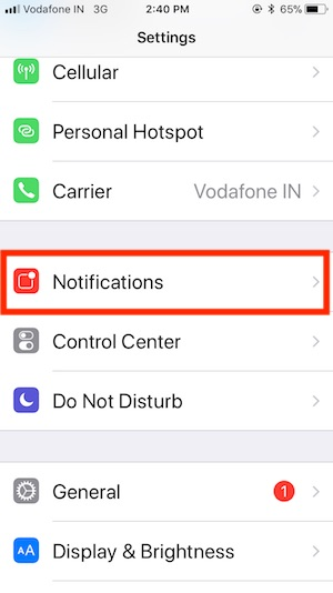 1 Notifications settings on iPhone