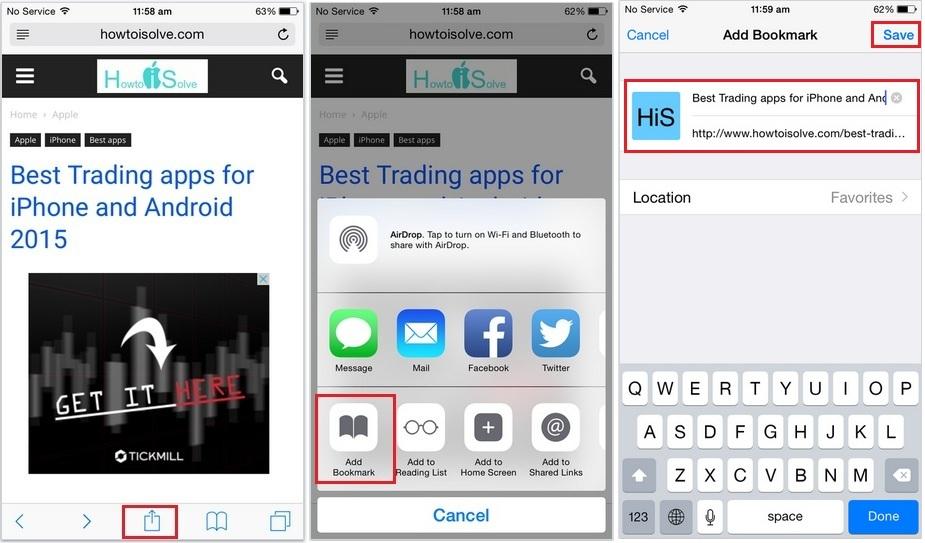 Bookmark safari webpage in iPhone, iPad and iPod Touch