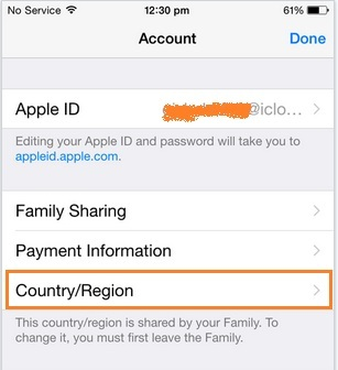 Change country or region in App store