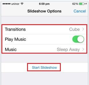 Slideshow settings for Photos app