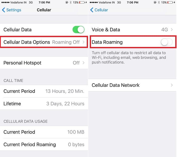 3 Turn off Cellular Data roaming on iPhone