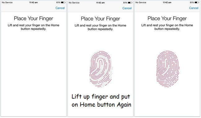 Scan your Finger and add for Touch ID