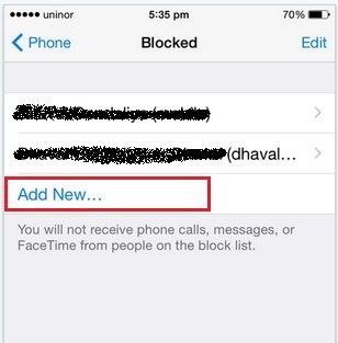 Add more blocked contacts in iPhone