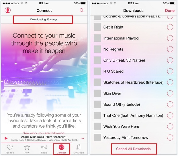 Manage all downloading songs