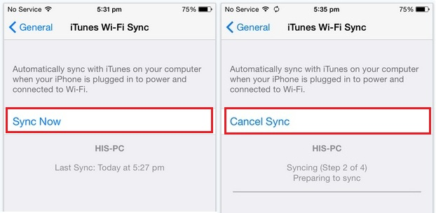 Start or Cancel sync process from iOS