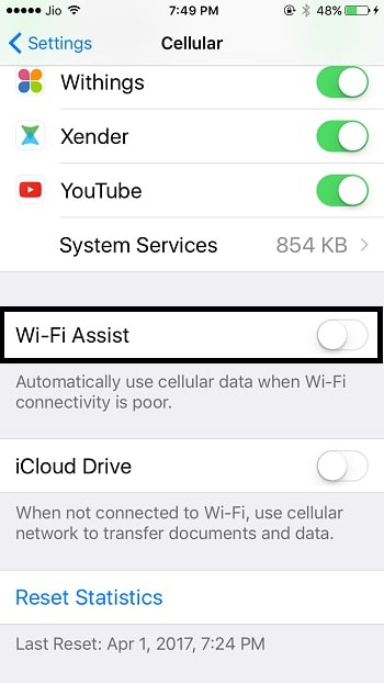 5 Turn off WiFi Assist on iPhone