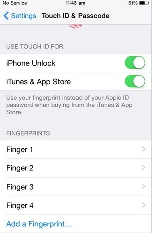 Added all finger touch prints manage from here