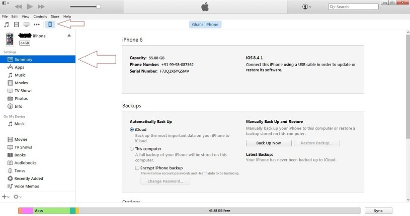 See your iOS device and Enable for sync on Wi-Fi