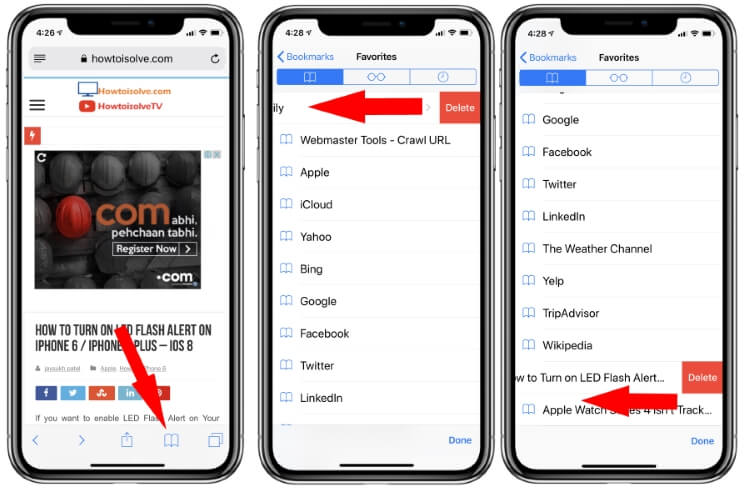 Delete Bookmarked Page on iPhone and iPad