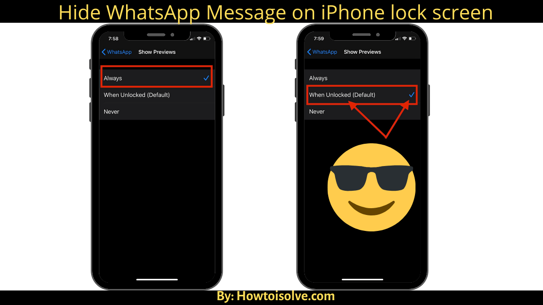 How to Hide WhatsApp Message on iPhone locked screen