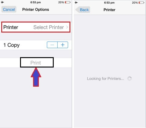 Printer icon appear between Slideshow and Assign to Contact