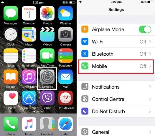 how to turn off mobile data on iOS 8