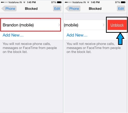 how can i do unblock iPhone 6 plus contact unblock